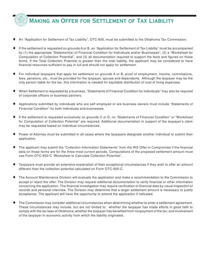 Tax Settlement Tax Settlement Statement