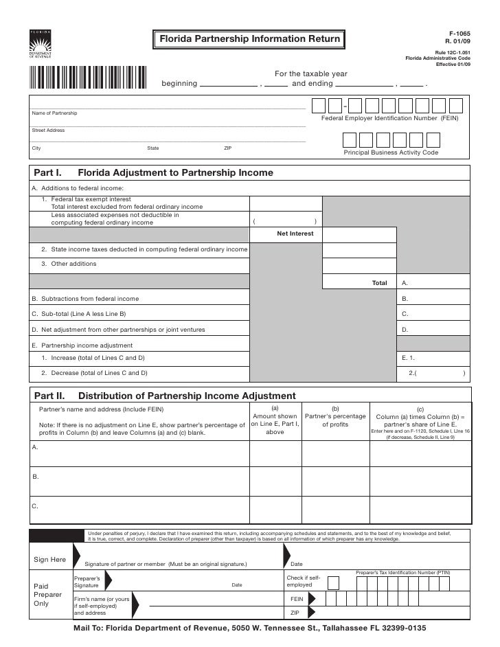 Florida Partnership Information Return with Instructions R.01/09