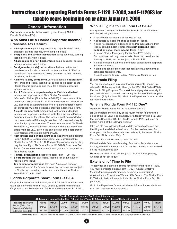 Instructions for Preparing Form F-1120 for 2008 Tax Year R ...