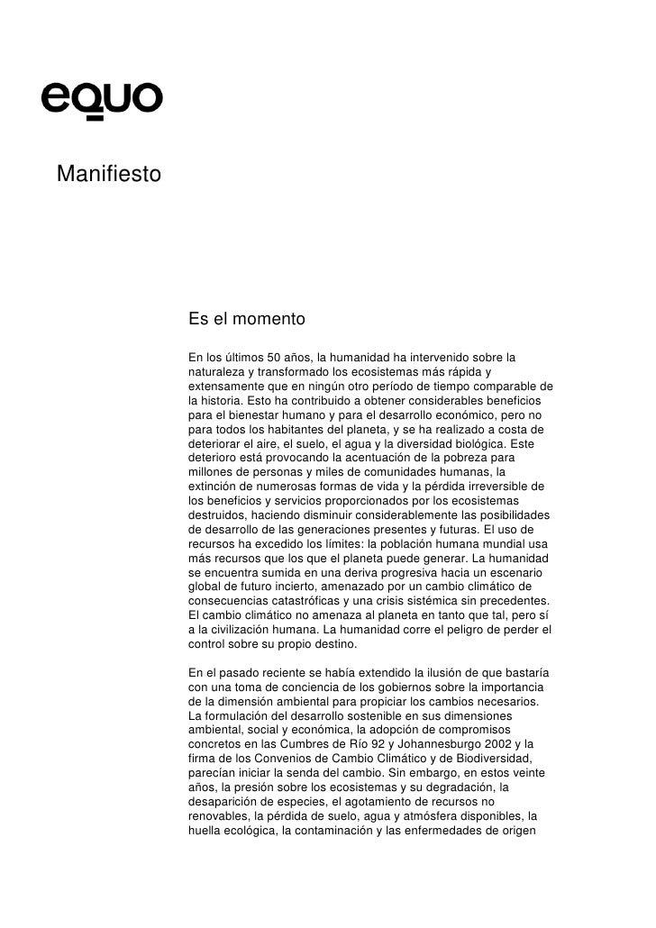 Manifiesto                  Es el momento               En los últimos 50 años, la humanidad ha intervenido sobre la      ...