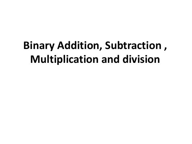 Binary Numbers Subtraction Binary Addition Subtraction