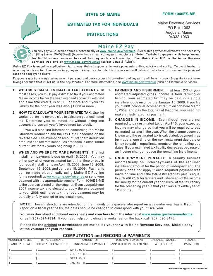 1040ES-ME vouchers for estimated tax payments