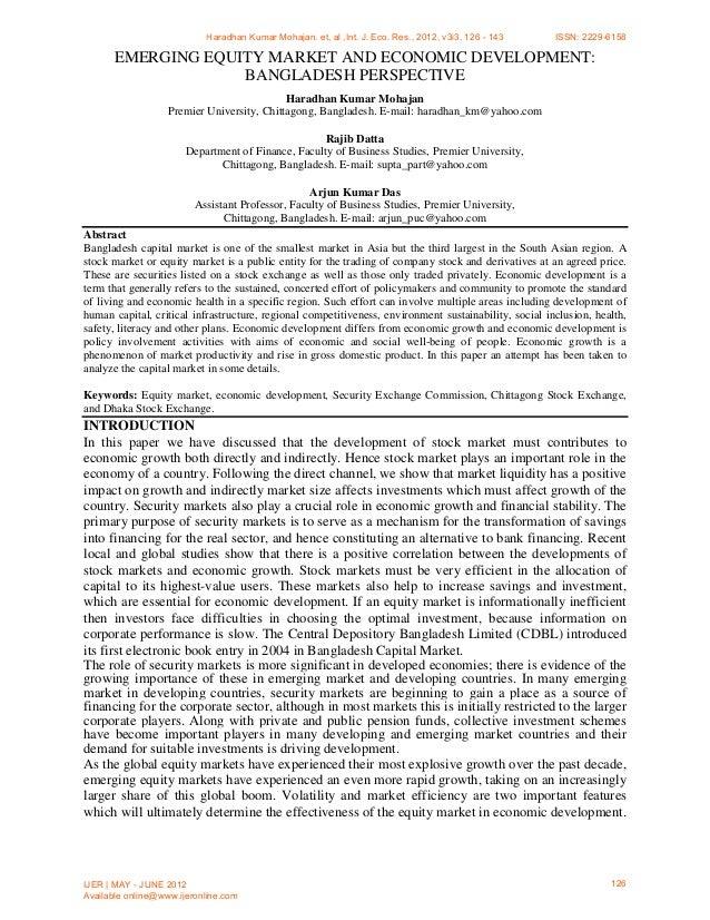 EMERGING EQUITY MARKET AND ECONOMIC DEVELOPMENT: BANGLADESH PERSPECTIVE