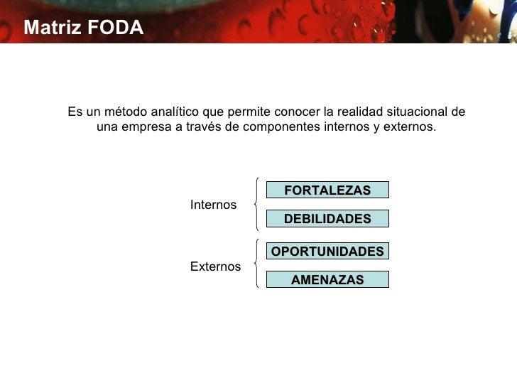 Matriz FODA    Es un método analítico que permite conocer la realidad situacional de        una empresa a través de compon...