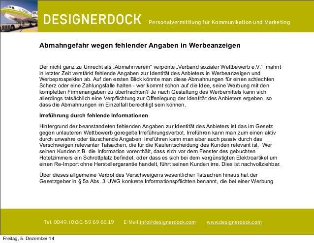 ∂  Personalvermittlung für Kommunikation und Marketing  Abmahngefahr wegen fehlender Angaben in Werbeanzeigen  Der nicht g...