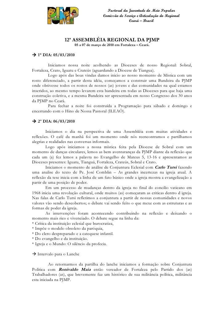 XII ASSEMBLEIA REGIONAL DA PJMP CEARÁ
