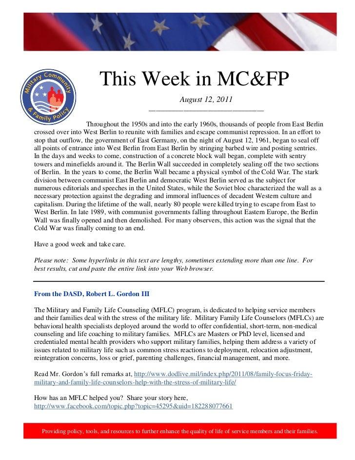 12 aug 2011, this week in mcfp