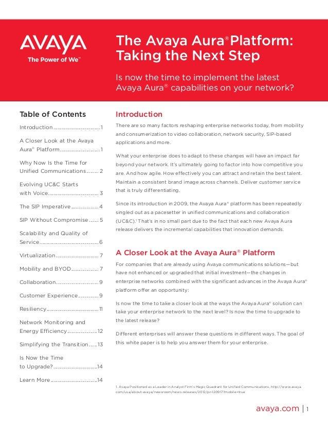 The Avaya Aura®Platform: Taking the Next Step