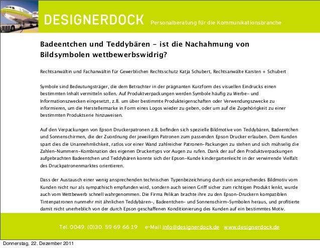 ∂ Tel. 0049. (0)30. 59 69 66 19 e-Mail info@designerdock.de www.designerdock.de Personalberatung für die Kommunikationsbra...