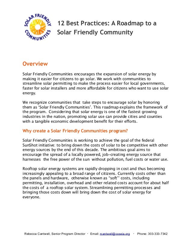 12 Best Practices: A Roadmap to a Solar Friendly Community  Overview Solar Friendly Communities encourages the expansion o...