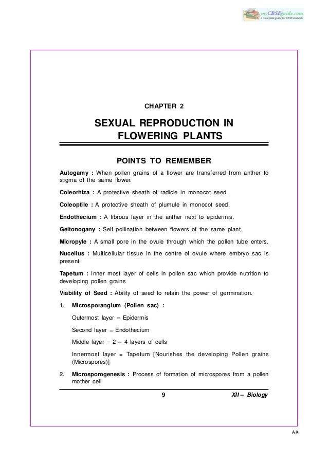 CHAPTER 2             SEXUAL REPRODUCTION IN                FLOWERING PLANTS                     POINTS TO REMEMBERAutogam...