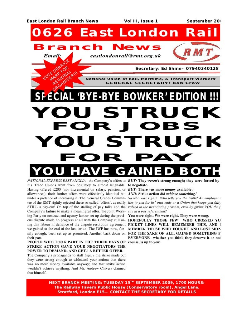 East London Rail Branch News                                     Vol II, Issue 1                            September 2009...