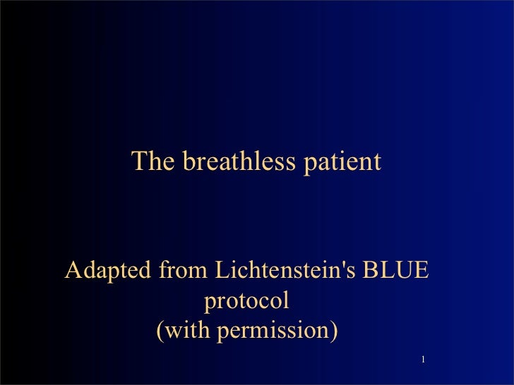 The breathless patientAdapted from Lichtensteins BLUE             protocol        (with permission)                       ...