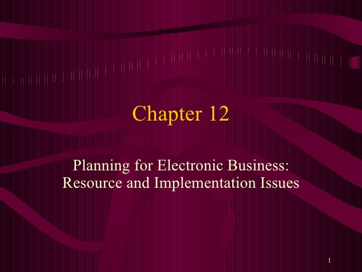 Chapter 12 Planning for Electronic Business: Resource and Implementation Issues