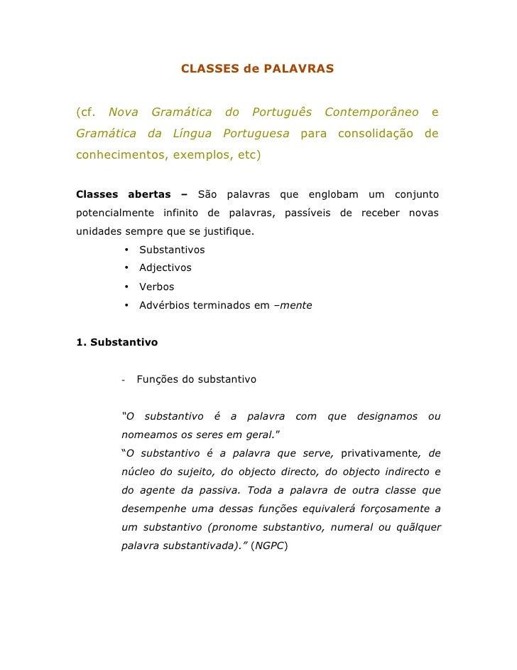 CLASSES de PALAVRAS   (cf.   Nova     Gramática        do   Português       Contemporâneo      e Gramática da Língua Portu...