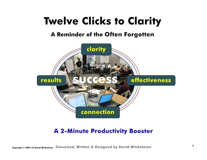 Twelve Clicks to Clarity                                  A Reminder of the Often Forgotten                               ...