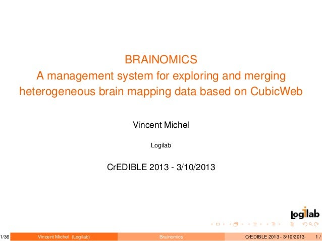 BRAINOMICS A management system for exploring and merging heterogeneous brain mapping data based on CubicWeb Vincent Michel...