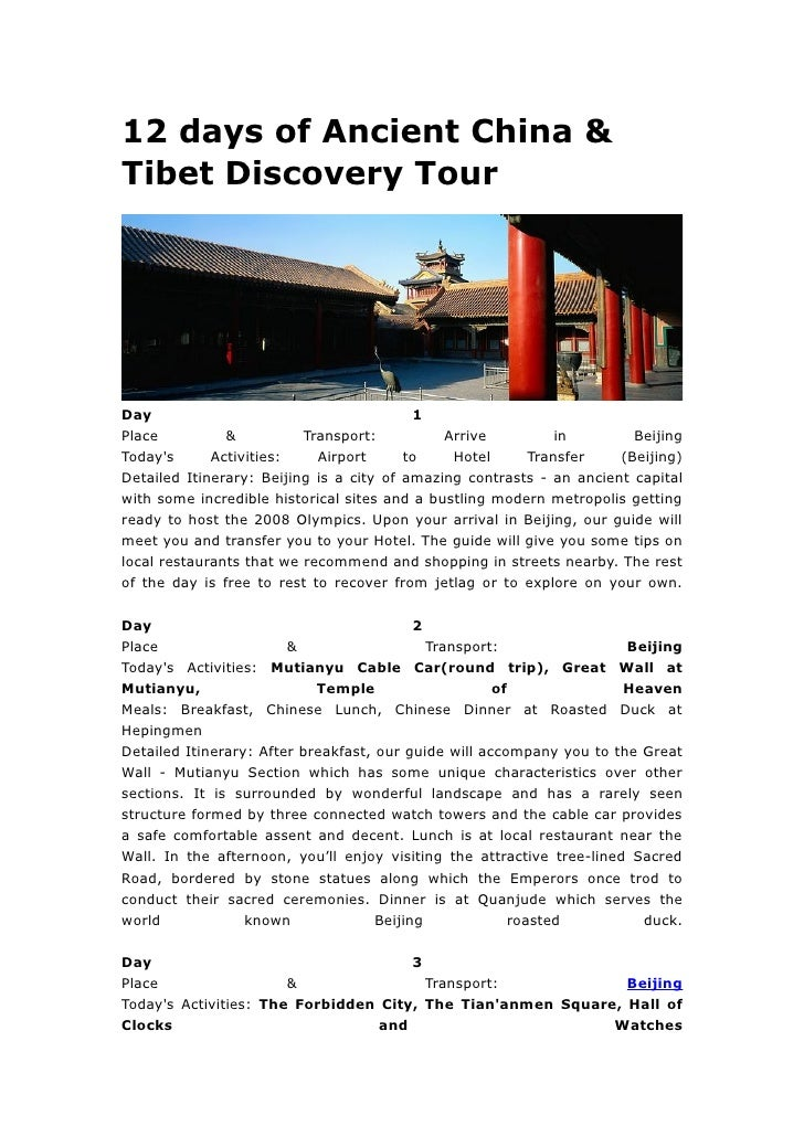 12 days of ancient china & tibet discovery tour