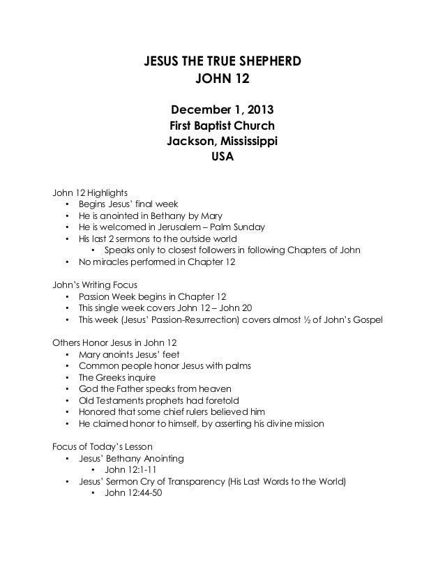 12 December 1, 2013, John 12