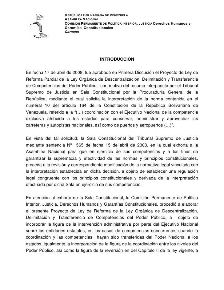 REPÚBLICA BOLIVARIANA DE VENEZUELA                     ASAMBLEA NACIONAL                     COMISIÓN PERMANENTE DE POLÍTI...