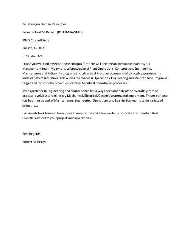 Cover Letter Human Resources Director. Cover Letter Examples Human