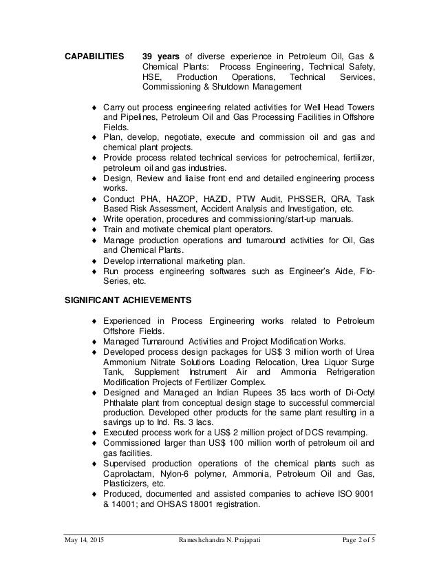 Offshore process engineer resume