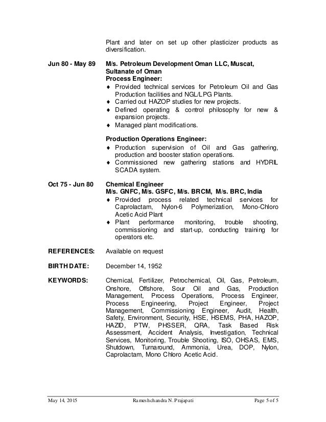 r prajapati cv for process engineer for and gas website