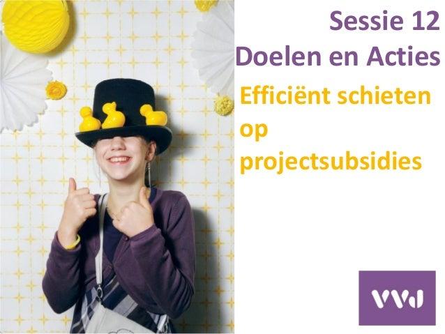 Efficiënt schieten op projectsubsidies Sessie 12 Doelen en Acties