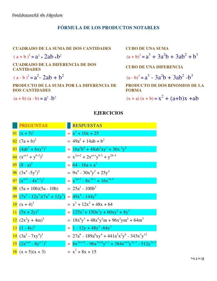 Probllemas01 de AllgebraProb emas01 de A gebra                           FÓRMULA DE LOS PRODUCTOS NOTABLESCUADRADO DE LA S...