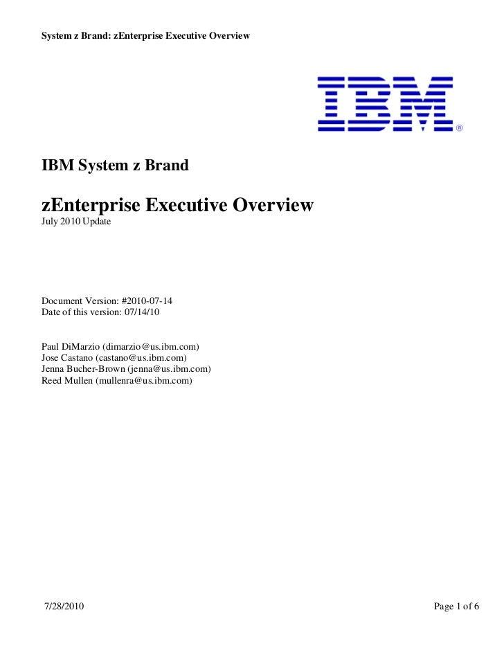 zEnterprise Executive Overview
