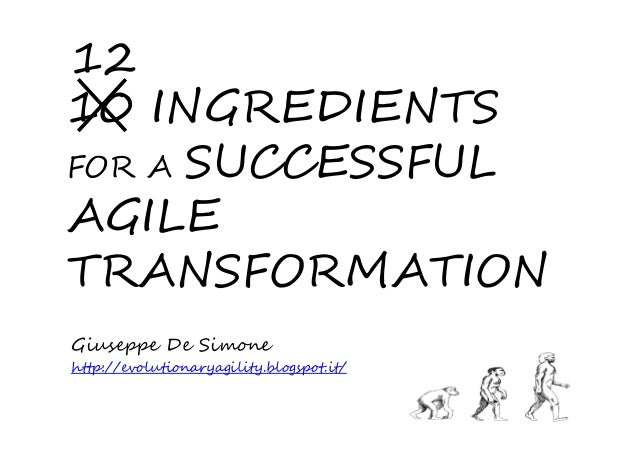 10 INGREDIENTS FOR A SUCCESSFUL AGILE TRANSFORMATION Giuseppe De Simone http://evolutionaryagility.blogspot.it/ 12
