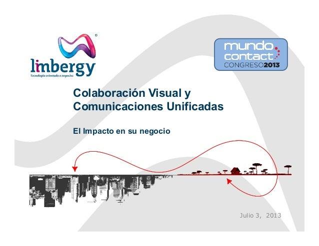 Colaboración Visual y Comunicaciones Unificadas El Impacto en su negocio Julio 3, 2013