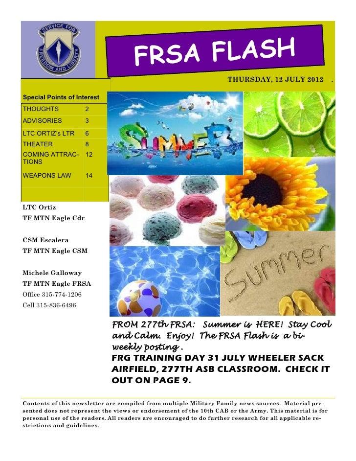 FRSA FLASH                                                                   THURSDAY, 12 JULY 2012               .Special...