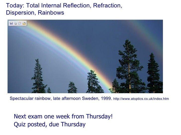 Today: Total Internal Reflection, Refraction,  Dispersion, Rainbows <ul><li>Next exam one week from Thursday! </li></ul><u...