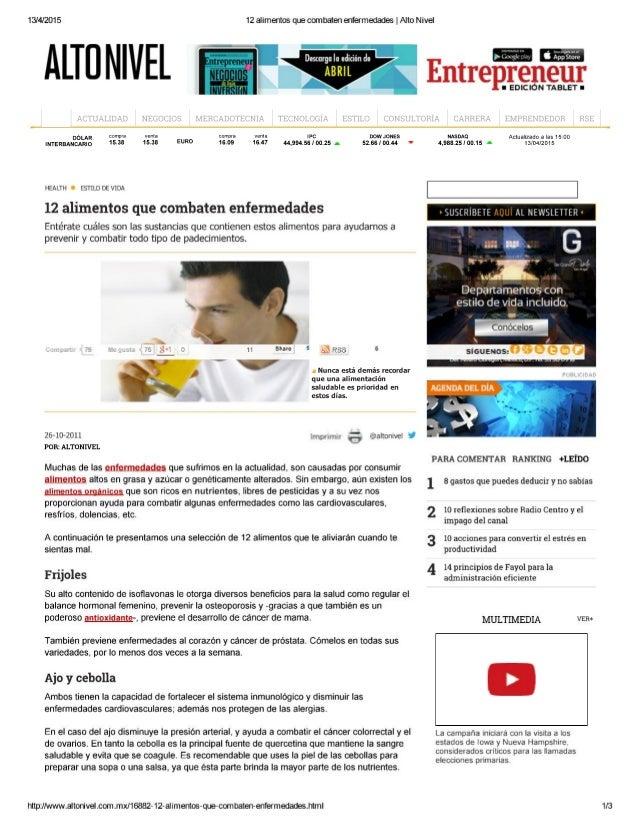 13/4/2015 12 alimentos que combaten enfermedades |  Alto Nivel  ALTÜ N| VEL i, '  Entre                P9119111'  u EDICIÓ...