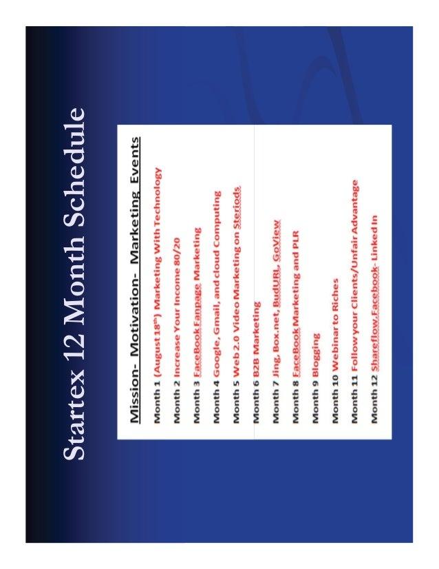 Startex 12 Month Schedule