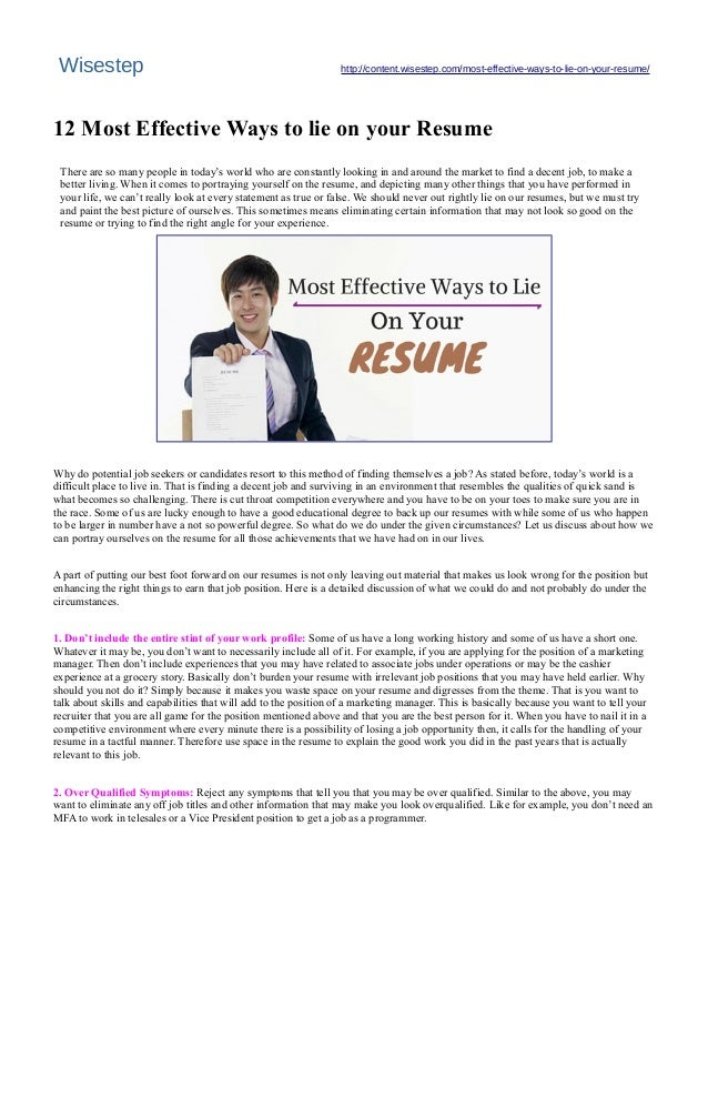 12 most effective ways to lie on your resume wisestep