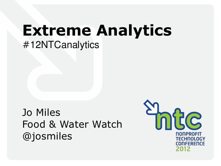 Extreme Analytics#12NTCanalyticsJo MilesFood & Water Watch@josmiles