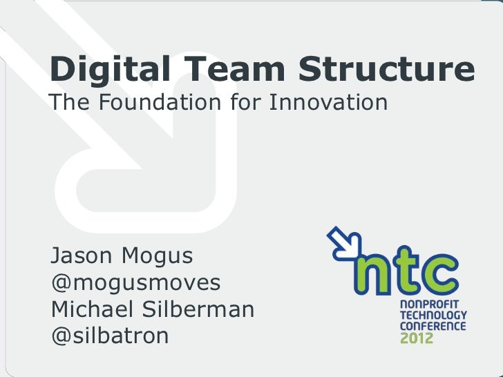 Digital Team StructureThe Foundation for InnovationJason Mogus@mogusmovesMichael Silberman@silbatron