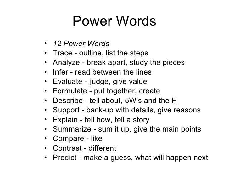 powerful words list essay