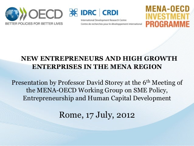 NEW ENTREPRENEURS AND HIGH GROWTH ENTERPRISES IN THE MENA REGION  Presentation by Professor David Storey at the 6th Meetin...