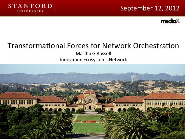 at S T A N F O R D U N I V E R S I T Y September	   12,	   2012	    Transforma3onal	   Forces	   for	   Network	   Orchest...