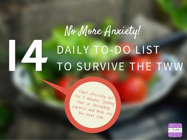 Image result for 14 daily to do list to survive tww