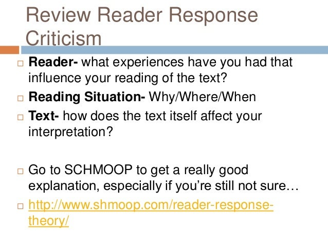 reader response criticism thesis Thesis statement for reader response criticism, and theory for music thesis statement for reader response transition words for thesis statement.