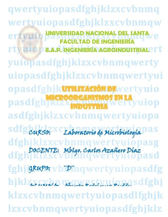 12 utilización de microorganismos en la industria
