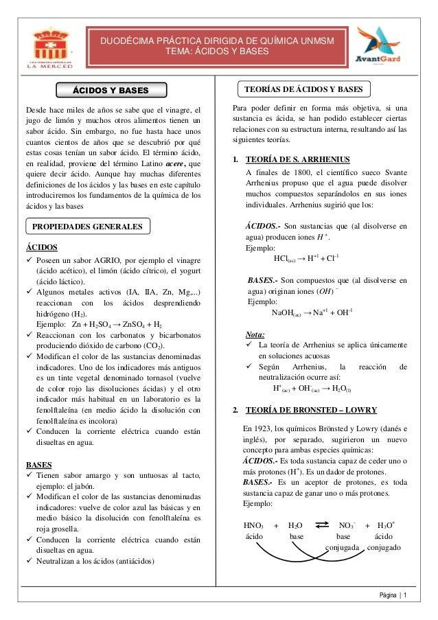 Página   1 DUODÉCIMA PRÁCTICA DIRIGIDA DE QUÍMICA UNMSM TEMA: ÁCIDOS Y BASES ÁCIDOS Y BASES Desde hace miles de años se sa...