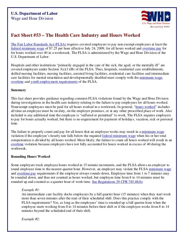 ATX22 Assisted Living Day Handout - Wage & Hour Hours Worked Fact Sheet #53