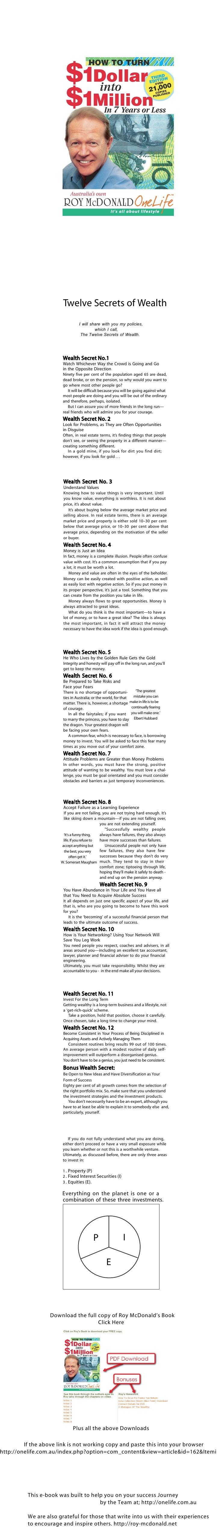 Twelve Secrets of Wealth                                  I will share with you my policies,                              ...