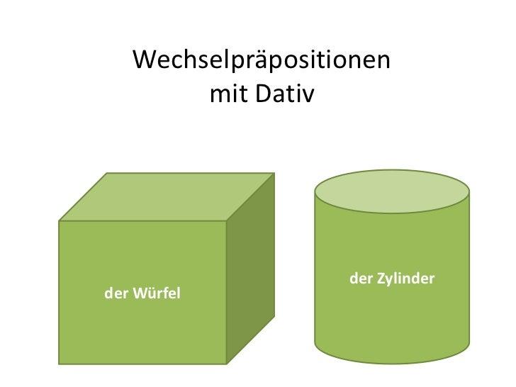 Wechselpräpositionenmit Dativ<br />der Zylinder<br />der Würfel<br />