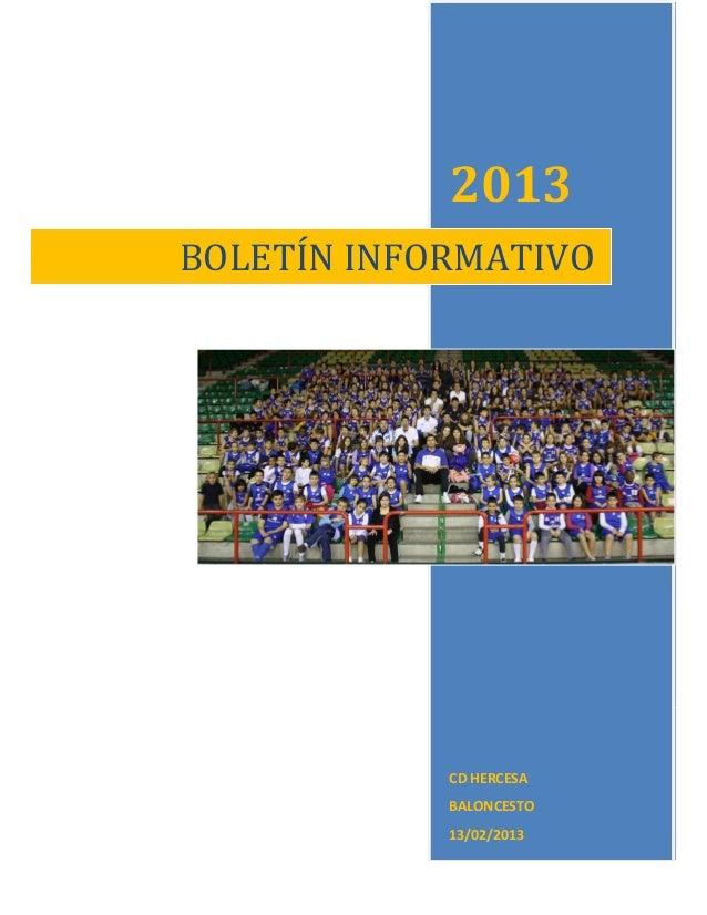 2013BOLETÍN INFORMATIVO            CD HERCESA            BALONCESTO            13/02/2013